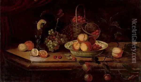 Peaches and berries in a Wanli kraak porcelain bowl with grapes, a peeled lemon and orange, a roemer and a basket of strawberries on a ledge Oil Painting - Osias, the Elder Beert