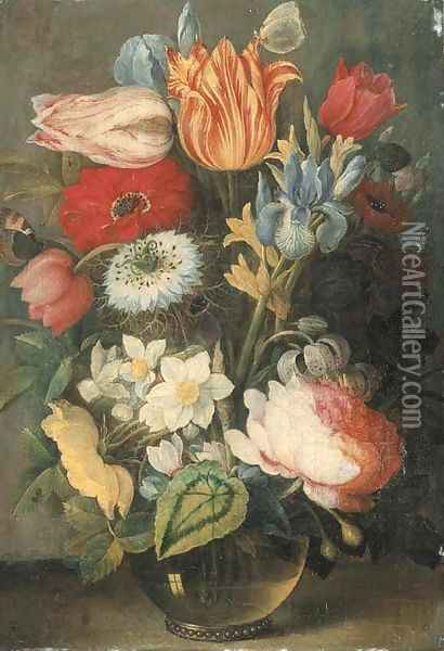 Tulips, roses, lilies, irises and other flowers in a glass vase on a ledge with butterflies Oil Painting - Osias, the Elder Beert