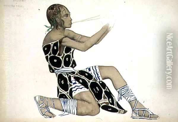 A Boetian Costume designed for Diaghilev's Ballets Russes, probably for 'Narcisse', 1911 Oil Painting - Leon Samoilovitch Bakst