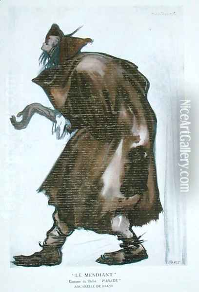 Costume design for the Beggar, for 'Parade' by Erik Satie (1866-1925) from the 'Ballets Russes' programme, 1917 Oil Painting - Leon Samoilovitch Bakst