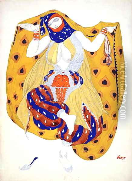 Costume design for a dancer in 'Scheherazade', a ballet first produced by Diaghilev Oil Painting - Leon Samoilovitch Bakst