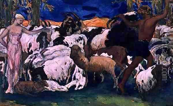 Daphnis and Chloe Bidding Each other Goodnight, design for a decorative panel, from Daphnis and Chloe, c.1912 Oil Painting - Leon Samoilovitch Bakst