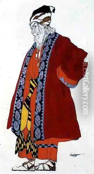 Costume design for an old man in a red coat Oil Painting - Leon Samoilovitch Bakst