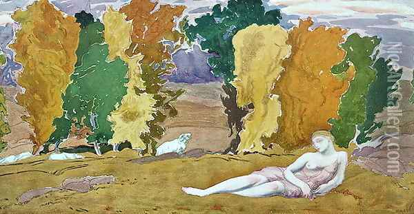 Design for a decorative panel, from Daphnis and Chloe, c.1912 Oil Painting - Leon Samoilovitch Bakst