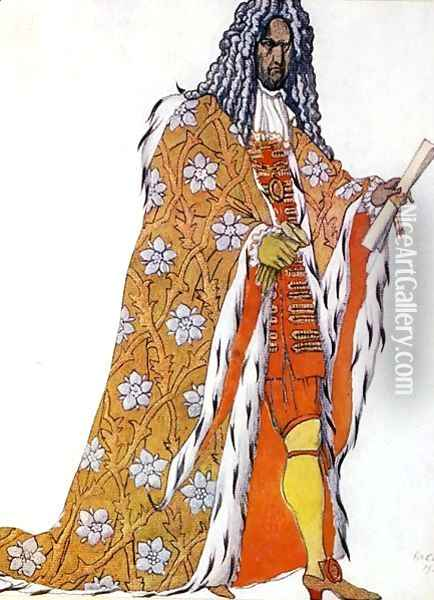 Costume design for The Master of Ceremonies, from Sleeping Beauty, 1921 Oil Painting - Leon Samoilovitch Bakst