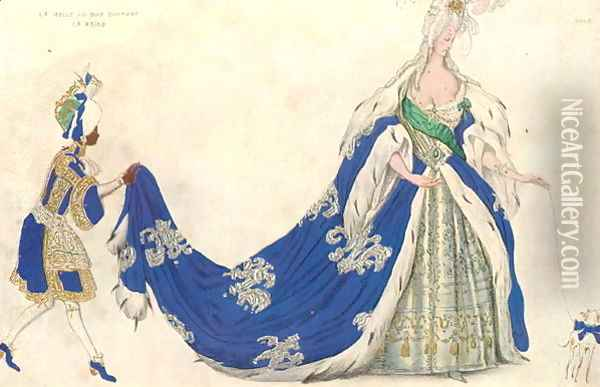 Costume design for the Queen in 'Sleeping Beauty', 1921 Oil Painting - Leon Samoilovitch Bakst
