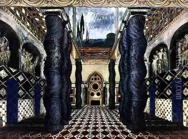 Scenery Design for the Imperial Palace, from The Martyr of St. Sebastian, c.1911-22 Oil Painting - Leon Samoilovitch Bakst