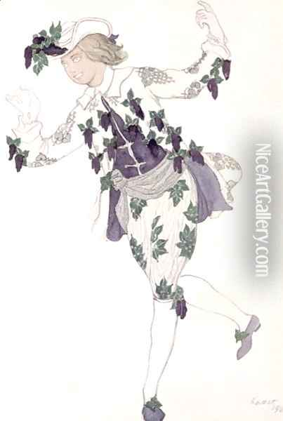 Costume design for the Pageboy of the Fairy Lilac, from Sleeping Beauty, 1921 Oil Painting - Leon Samoilovitch Bakst