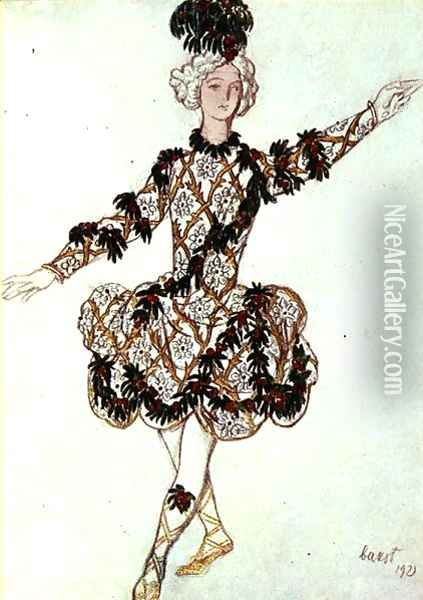 Costume design for the Fairy Cherry's Pageboy, from Sleeping Beauty, 1921 Oil Painting - Leon Samoilovitch Bakst