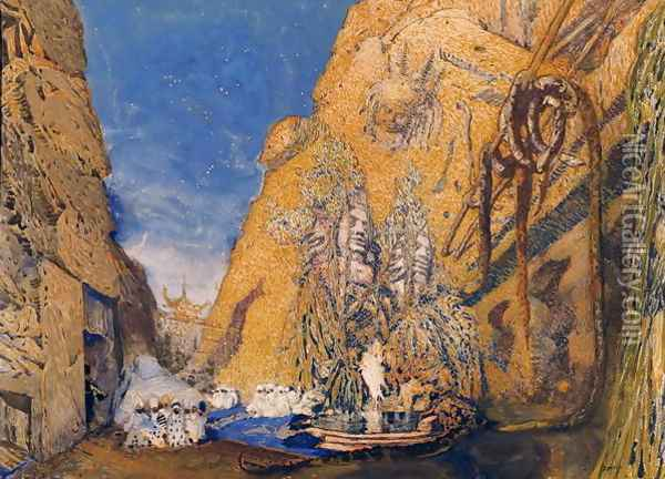 Stage set for the 'Dieu Bleu' Oil Painting - Leon Samoilovitch Bakst