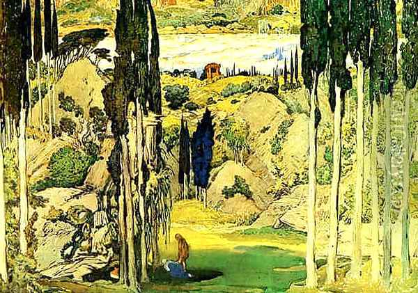 Stage Design for Daphnis and Chloe Oil Painting - Leon Samoilovitch Bakst