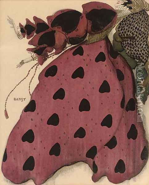 Costume design for a lady in red Oil Painting - Leon Samoilovitch Bakst