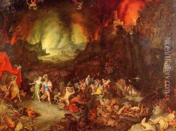 Aenaes and the Sybil in Hades Oil Painting - Jan The Elder Brueghel