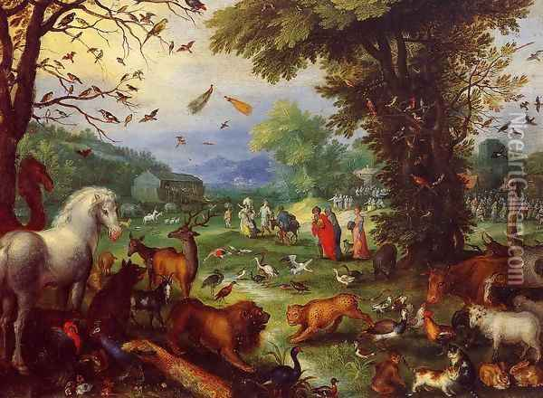 Landscape of Paradise and the Loading of the Animals in Noah's Ark Oil Painting - Jan The Elder Brueghel