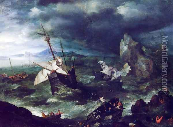 The Storm at Sea with Shipwreck Oil Painting - Jan The Elder Brueghel