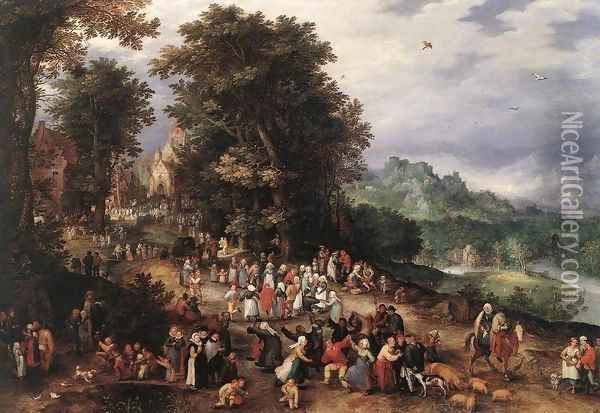 A Flemish Fair 1610s Oil Painting - Jan The Elder Brueghel