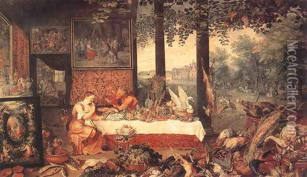 The Sense of Taste 1618 Oil Painting - Jan The Elder Brueghel