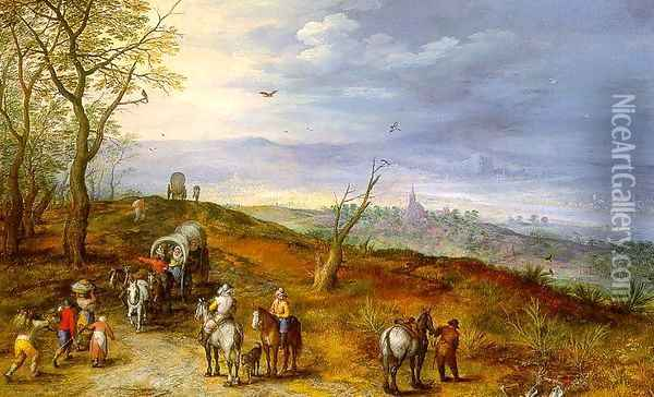 Wayside Encounter 1600s Oil Painting - Jan The Elder Brueghel