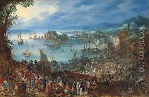 Great Fish-Market 1603 Oil Painting - Jan The Elder Brueghel