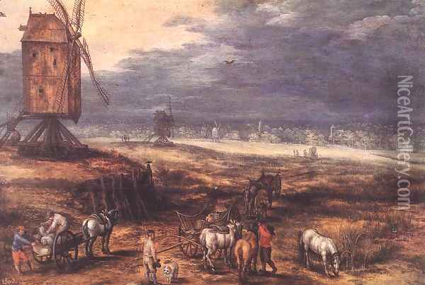 Landscape with Windmills c. 1607 Oil Painting - Jan The Elder Brueghel