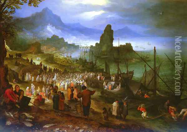 Christ Preaching At The Seaport Oil Painting - Jan The Elder Brueghel