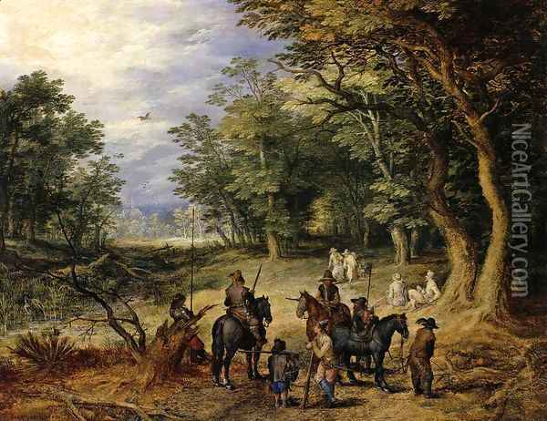 Guards in a Forest Clearing 1607 Oil Painting - Jan The Elder Brueghel