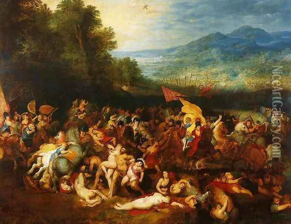 The Battle of the Amazons Oil Painting - Jan The Elder Brueghel
