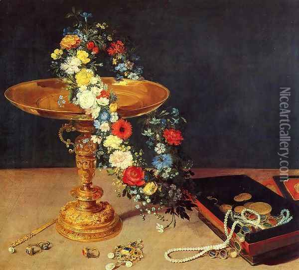 Still-Life with Garland of Flowers and Golden Tazza 1618 Oil Painting - Jan The Elder Brueghel