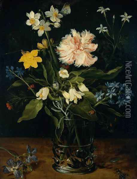 Still Life With Flowers In A Glass Oil Painting - Jan The Elder Brueghel