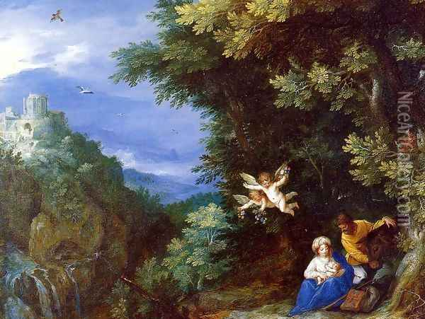 The Rest on the Flight to Egypt Oil Painting - Jan The Elder Brueghel