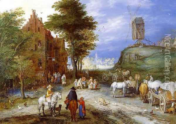 Village Entrance with Windmill Oil Painting - Jan The Elder Brueghel