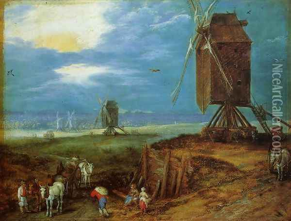 Windmills Oil Painting - Jan The Elder Brueghel