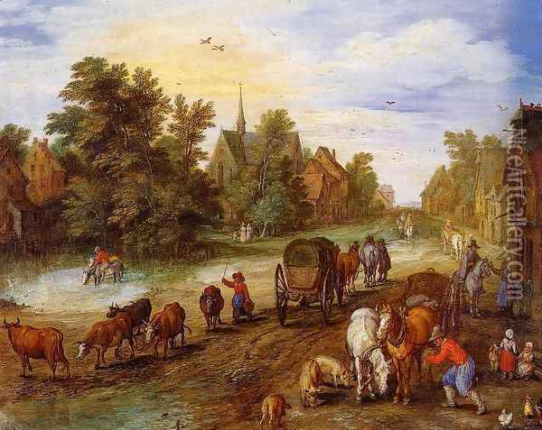 Busy Village Street with Resting Travellers Oil Painting - Jan The Elder Brueghel
