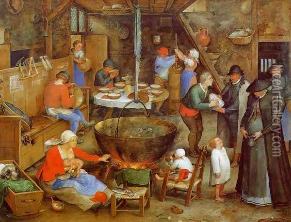 The Visit to the Farm Oil Painting - Jan The Elder Brueghel