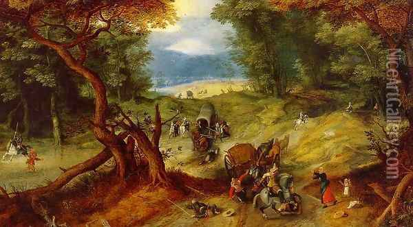 The Ambush Oil Painting - Jan The Elder Brueghel