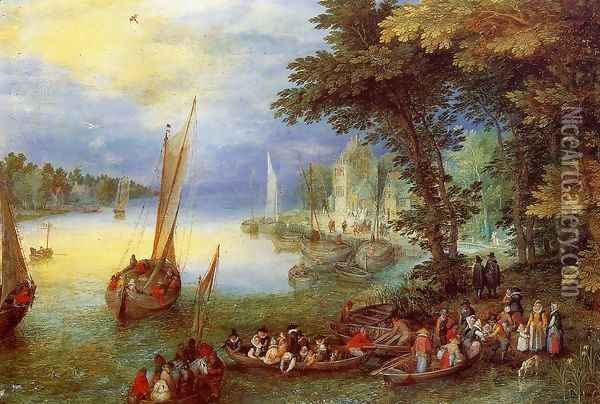 River Landscape Oil Painting - Jan The Elder Brueghel