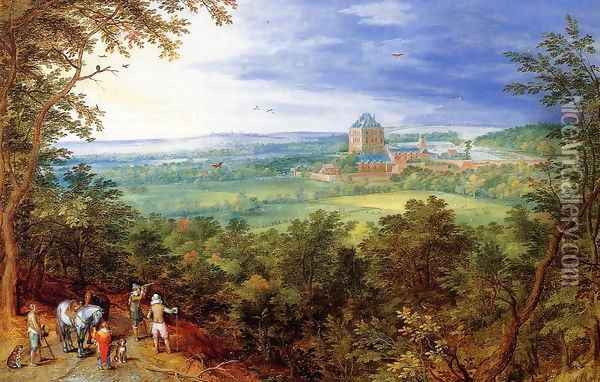 Landscape with the Chateau de Mariemont Oil Painting - Jan The Elder Brueghel