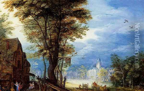 A Village Street With The Holy Family Arriving At An Inn [detail: 1] Oil Painting - Jan The Elder Brueghel
