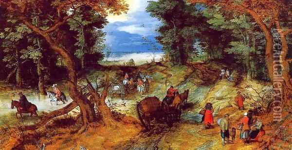 Forest Landscape with Travellers Oil Painting - Jan The Elder Brueghel
