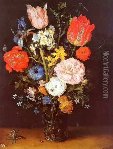 Flowers in a Glass Vase Oil Painting - Jan The Elder Brueghel