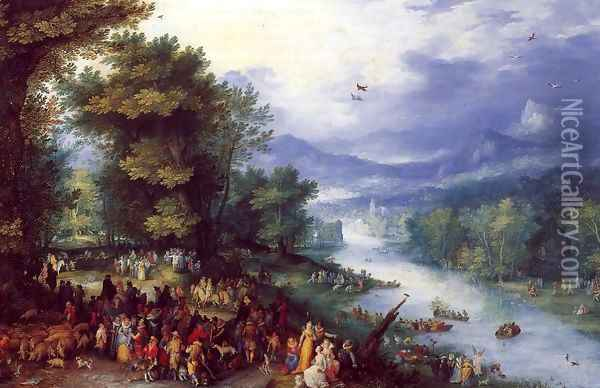 Landscape with the Young Tobie Oil Painting - Jan The Elder Brueghel