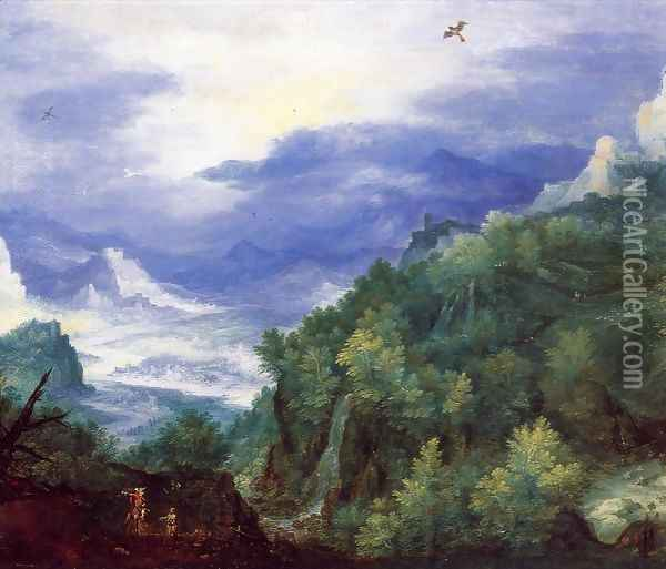 Mountain Landscape with View of a River Valley Oil Painting - Jan The Elder Brueghel