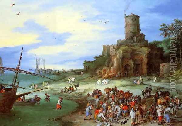 Coastal Landscape with the Tomb of Scipion Oil Painting - Jan The Elder Brueghel
