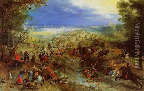 Equestrian Battle near a Mill Oil Painting - Jan The Elder Brueghel