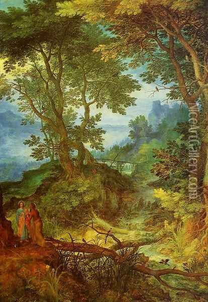 Mountain Landscape with the Temptation of Christ Oil Painting - Jan The Elder Brueghel