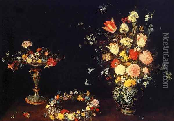 Still Life with a Tazza, Garland and Bouquet of Flowers in a Porcelain Vase Oil Painting - Jan The Elder Brueghel