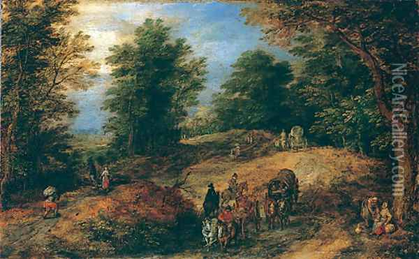Landscape with Travelers on a Woodland Path ca 1607 Oil Painting - Jan The Elder Brueghel
