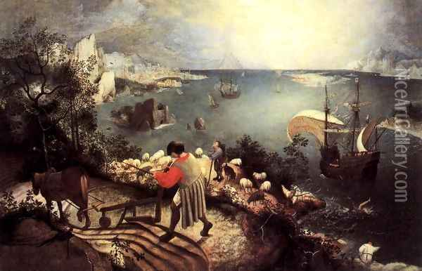 Landscape with the Fall of Icarus 1555 Oil Painting - Jan The Elder Brueghel