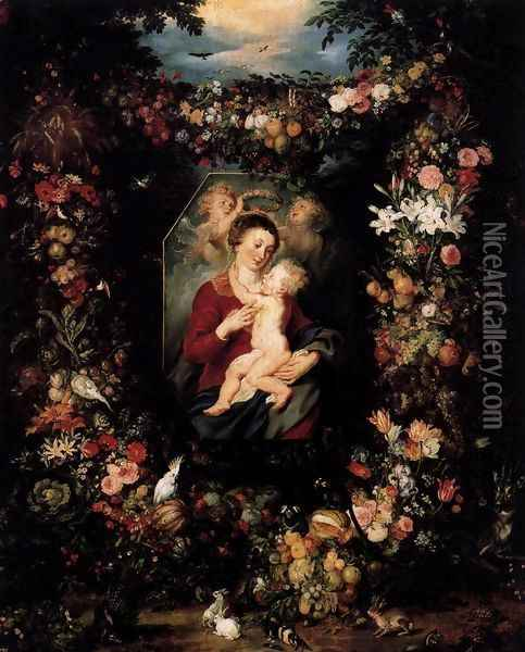 Virgin and Child Surrounded by Flowers and Fruit Oil Painting - Jan The Elder Brueghel