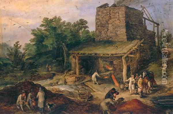Landscape with a foundry Oil Painting - Jan The Elder Brueghel